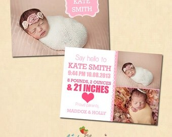 INSTANT DOWNLOAD 5x7 Birth announcement card template - CA257