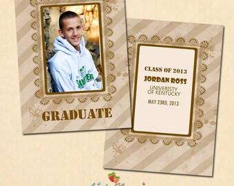 INSTANT DOWNLOAD 5x7 Graduation announcement card template - CA215