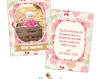 INSTANT DOWNLOAD 5x7 Holiday Card Photoshop Template - CA291