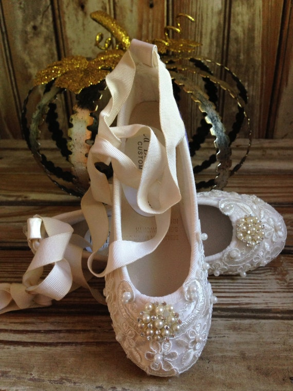 Custom Ballet Style Ivory Flower Girl Shoes Satin Beaded
