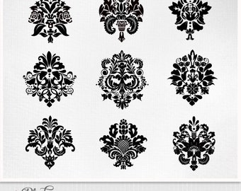 Digital Damask Clipart Instant Download. Digital Scrapbook. PNG and Eps files  black and pink Personal and Limited Commercial Use