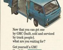 GMC Handi-Van Original 1964 Vintage Ad Color Illustration Blue General Motors Corporation Van