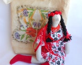 """Textile soft cotton doll in traditional outfit with bag """" Little Ukrainian girl"""""""