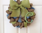 Blue and green burlap wreath with monogram initial 15 inches