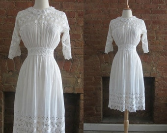 1910s antique edwardian cotton lawn eyelet tea dress • Philomene