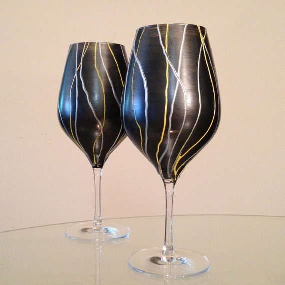 In Stock Hand Painted Crystal Wine Glasses Contemporary