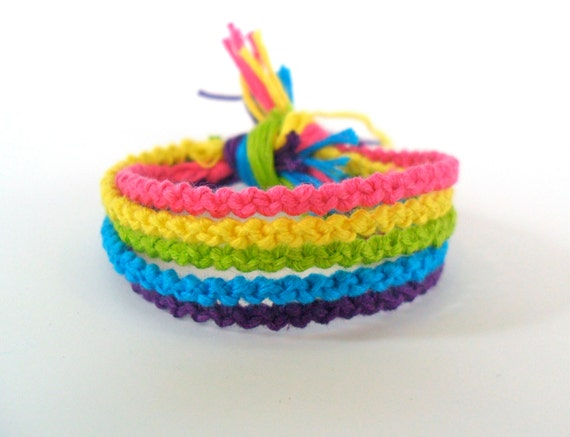 Neon Rainbow Friendship Bracelets Set of 5 by ClamBoneBracelets