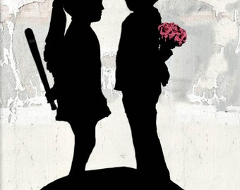 Banksy canvas Boy Meets Girl Street Art Graffiti 24 x 30 inch premium print