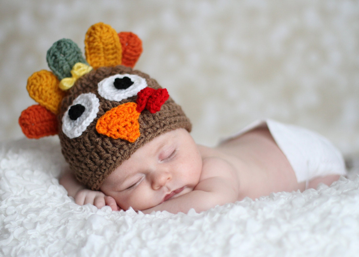 Crochet Turkey Cat Hat Pattern : Tom the Turkey Hat Boy or Girl 1-2lb & 2-3 lb micro preemie