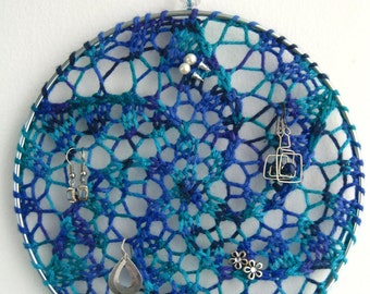 Earring Holder  - Multicolor Blues with Purple and Teal / Jewelry Organizer / Jewelry Display / Suncatcher / Dreamcatcher