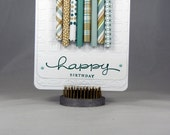 Birthday Card - Birthday Candles - Beige & Blue - Polka Dots, Plaid, Stripes, Tweet and Hoot Paper