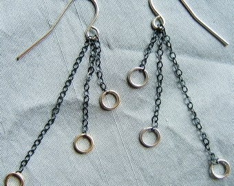 """Sterling Silver Oxidized Chain & Circle Earrings, """"Triad"""""""