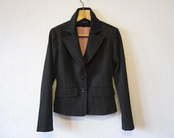 Black Jacket Womens Striped Blazer Fitted Small XS