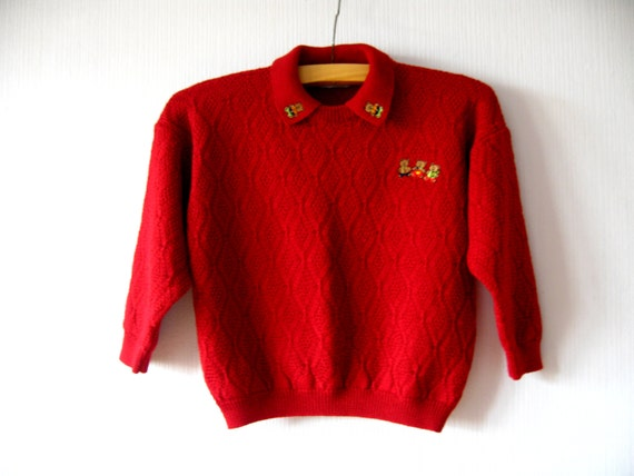 Crimson Red Sweater Wool Three Bears Pullover Small Ugly