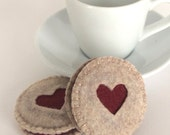 Felt Food: 2 Felt Cookies Hand Stitched Heart Cut Raspberry Linzer -- children's pretend play, tea set, tea party, felt cookies or gift