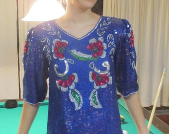 Purple sequined silk blouse from the 80's size S