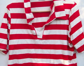 JMK 80s or 90s red and white striped shirt