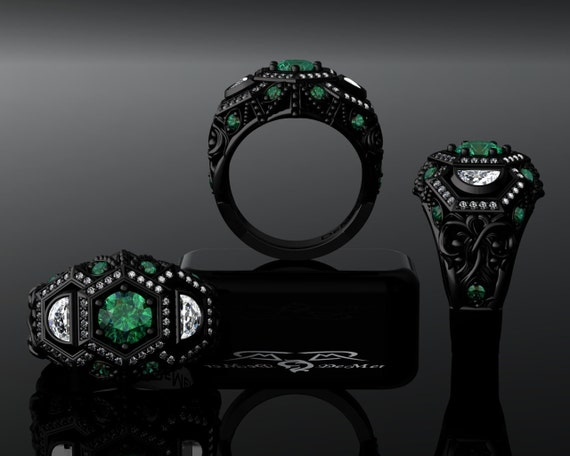 Black Gold & Emerald Diamond Engagement Ring European
