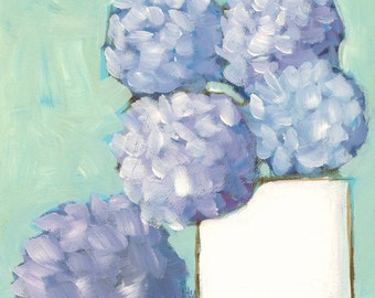 Never-Ending - hydrangeas - Fine Art PRINT - cottage chic, acrylic painting by Lana Manis