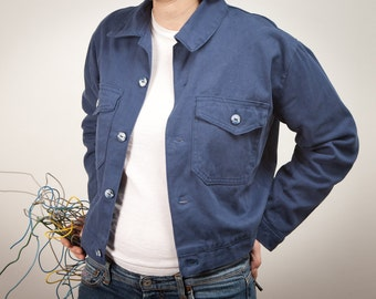 blue jacket with pockets and pearl buttons, handmade in Italy - made to order