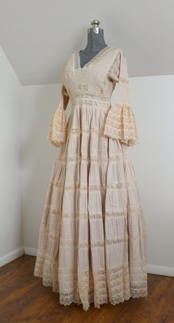 Vintage Lace Dress Victorian Style Prairie Gown Wedding
