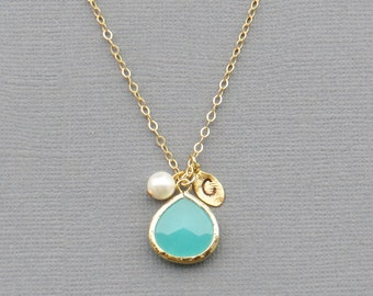 Personalized Necklace, Turquoise Necklace, Graduation Gift, Teacher Gift, Gift for Best Friend, Necklace for Mom, Bridesmaid Necklace