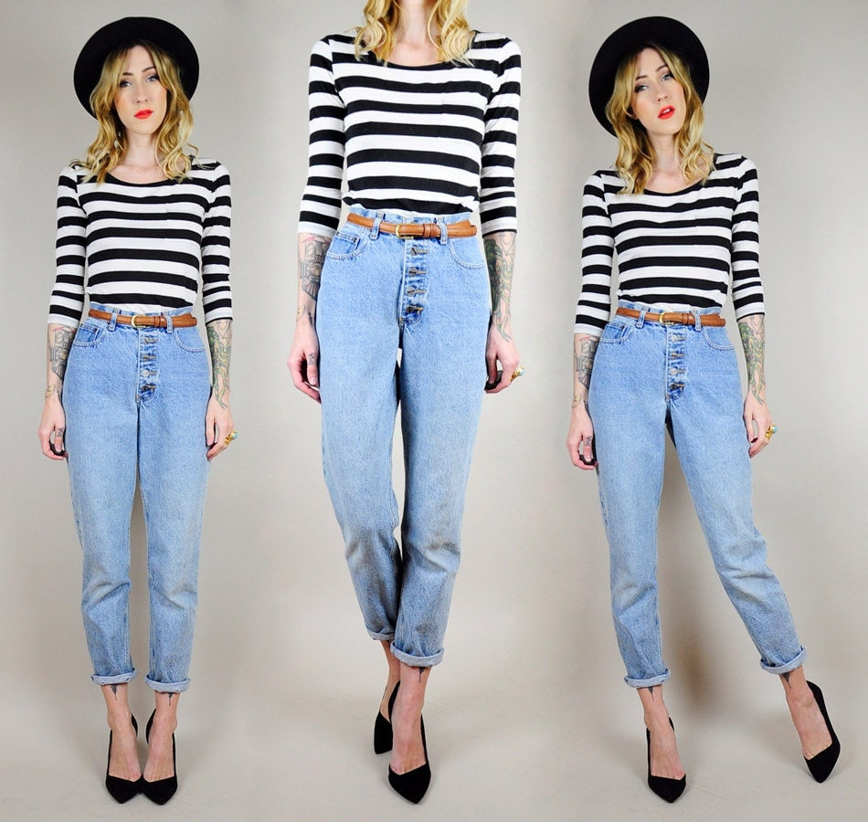 HIGH Waist 90's SKINNY JEANS Button Fly Tight Ankle Light