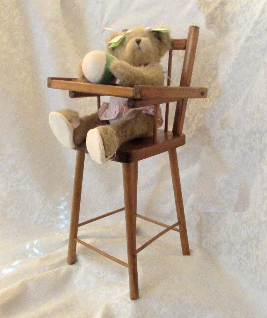 Vintage doll furniture wooden high chair for baby doll Wooden baby doll furniture