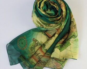 10% Off All Scarf Order > USD100 - Dark Green Silk Chiffon Scarf with Map Print - Green Mulberry Silk Scarf  - AS38