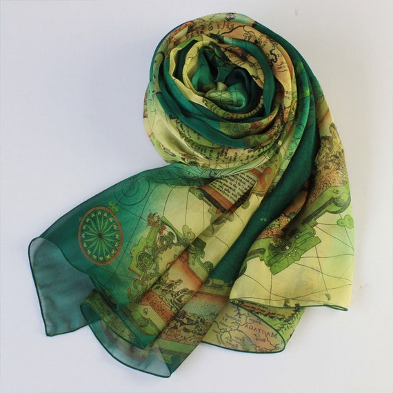 Dark Green Silk Chiffon Scarf with Map Print - Green Mulberry Silk Scarf  - AS38