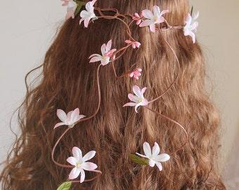 Back Cascade Crown, Pink Bridal Crown, Boho Flower Crown, Woodland Crown, Pink Flower Girl Halo, Cascade Flower Crown, Pink Flower Crown