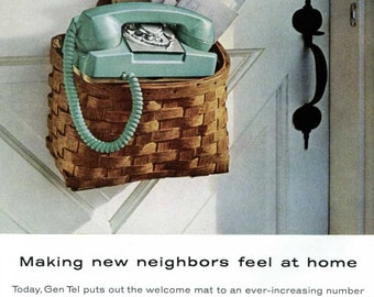 Vintage 1960's Phone Ad - General Telephone Gen Tel - 1960s Mid Century Home Blue Green Phone