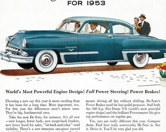 Vintage De Soto Car Ad - Classic 1950's DeSoto Plymouth Chrysler Sedan Automobile Illustration Art for Home Office or Man Cave