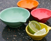 Neon Citrus Measuring Cup Set - Kitchen Gift - Mint Green Orange Pink Yellow - Hand Painted Prep Bowls - Made To Order