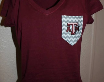 Texas A&M Aggies V-Neck Pocket Shirt Chevron