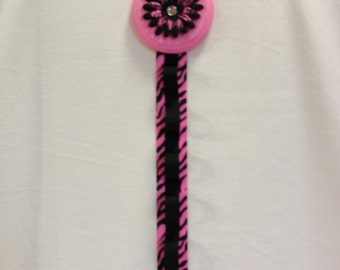 Hot Pink and Black Zebra Flower Girls Bedroom Wooden Hair Bow and Headband Holder Hot Pink and Black Zebra Ribbon