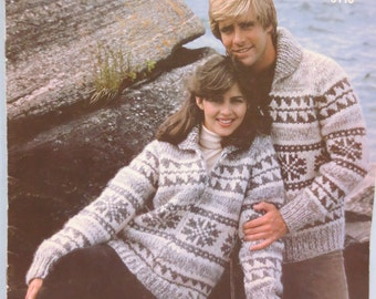 "White Buffalo Wool Cowichan Sweater Pullover ""His or Hers"" Knitting Pattern #6110 - PDF New & Old Plus Bonus ""Design Your Own"" Charts B2G1"