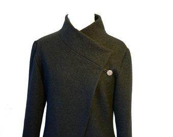 Women boiled wool Jacket ,black size Xs-L