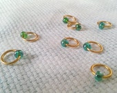 Snag-free Stitch Markers in Gold & Green