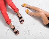 Blaze Black Leather Sandals - Black Sandals - flat sandals - Strap sandals - Mens sandals Men - Handmade Sandals