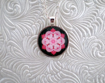 Pink and green kaleidoscope pendant necklace, abstract pendant necklace