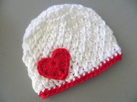 Crochet Valentine Hat : Valentines Day baby hat Heart crochet beanie by CrochetToZ