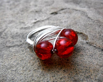 Blood Red Ring, Cluster Ring, Wire Wrapped Ring, Wire Wrapped Jewelry Handmade, Bead Ring, Chunky Ring