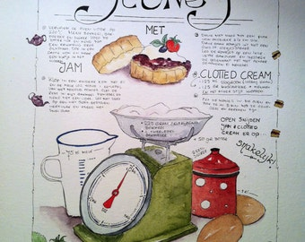 Recipe scones - original watercolor