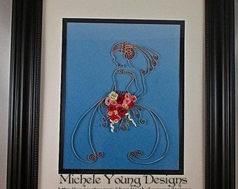 Framed Paper Quilled Bride Art. Peach with paper flowers on fade-to-blue paper.
