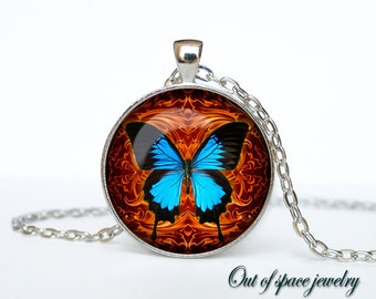 Butterfly pendant Butterfly necklace Butterfly jewelry insect pendant