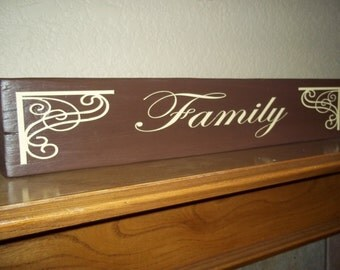 Family - Hand painted wood block