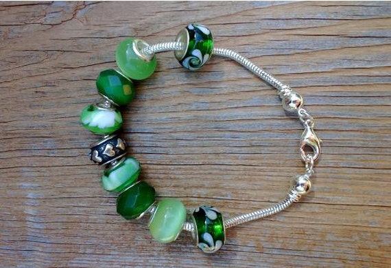 Green European Bracelet, Add A Bead, Chunky Green Trendy Bracelet, Big Bead Bracelet, Charm Bead Bracelet, Snake Chain Bracelet