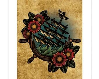 Sinking ship ship 39 s wheel neo traditional tattoo flash for Sinking ship tattoo