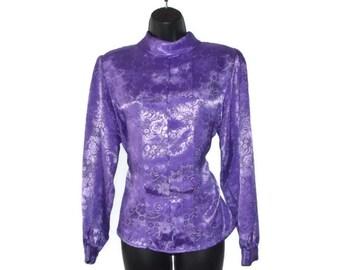 Vintage 80s purple satin blouse